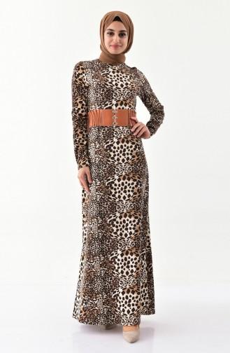 فستان كاجوال بتصميم مُرقط 1021-01 لون بني 1021-01
