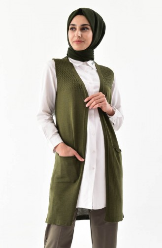iLMEK Knitwear Pocketed Vest 4121-01 Khaki 4121-01
