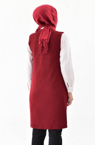 iLMEK Knitwear Pocketed Vest 4121-06 Claret Red 4121-06