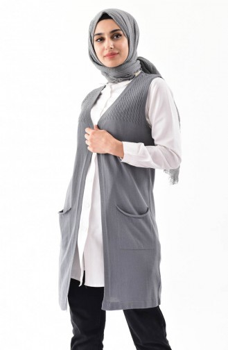 iLMEK Knitwear Pocketed Vest 4121-07 Gray 4121-07