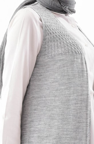 iLMEK Knitwear Pocketed Vest 4121-08 Light Gray 4121-08