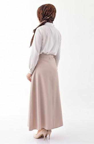 Button Detailed Belt Skirt 0403-01 Beige 0403-01