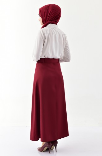Button Detailed Belt Skirt 0403-02 Bordeaux 0403-02