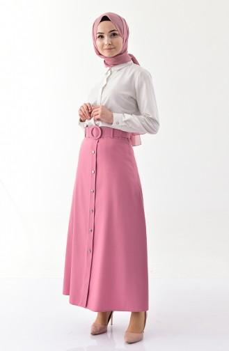 Button Detailed Belt Skirt 0403-03 Dry Rose 0403-03
