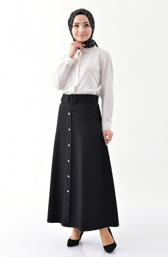 Button Detailed Belt Skirt 0403-06 Black 0403-06