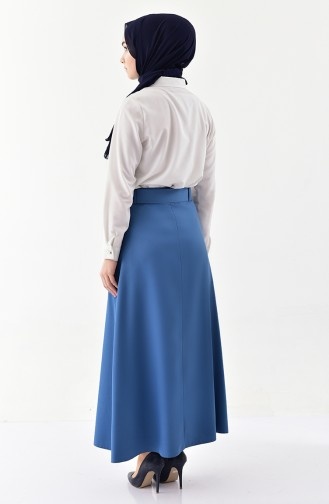 Button Detailed Belt Skirt 0403-07 İndigo 0403-07
