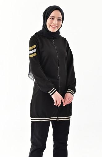 جاكيت رياضي بتصميم سحاب 5049-05 لون أسود 5049-05