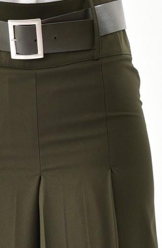 بورون بنطال قصة تنورة بتصميم حزام للخصر 31243-03 لون أخضر كاكي 31243-03