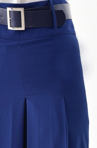 بورون بنطال قصة تنورة بتصميم حزام للخصر 31243-04 لون نيلي 31243-04