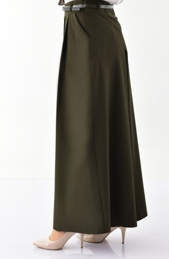 بورون تنورة بتصميم بنطال وحزام للخصر 31248-04 لون اخضر كاكي 31248-04