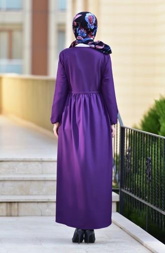 Abaya a Fermeture 2130-06 Pourpre 2130-06