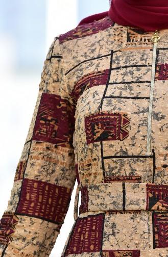 Dilber Zipper Detailed Belted Dress 9189-02 Bordeaux 9189-02