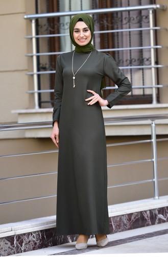 Kolyeli Elbise 4508-04 Koyu Haki