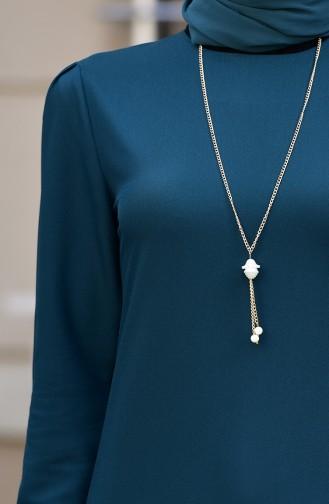 Kolyeli Elbise 4508-06 Zümrüt Yeşili
