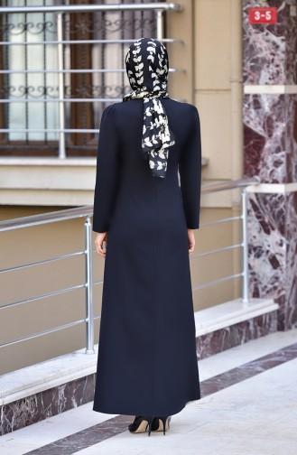 Kolyeli Elbise 4508-07 Siyah