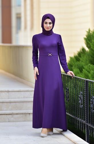 Kemer Detaylı Elbise 4509-07 Mor 4509-07
