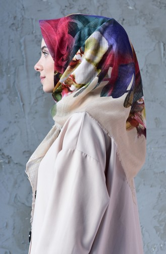 Orchid Pattern Flamed Cotton Scarf 2176-14 Cream 2176-14