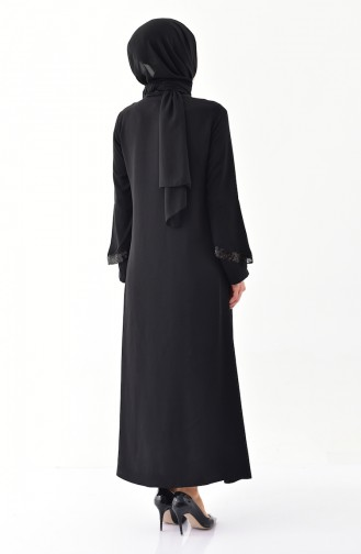 Sequin Detailed Zippered Abaya 1040-01 Black 1040-01