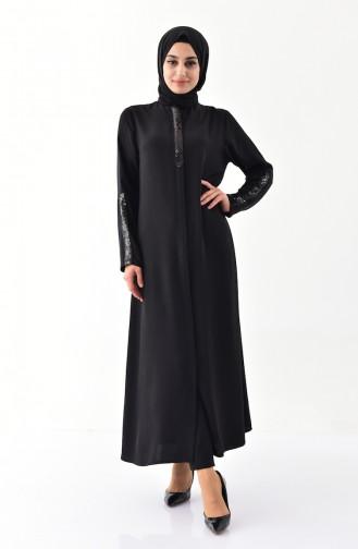 Payet Detaylı Fermuarlı Ferace 1041-01 Siyah