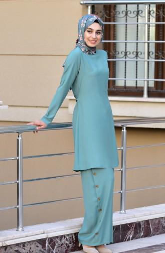 Bağcıklı Tunik Pantolon İkili Takım 10112-02 Çağla Yeşili