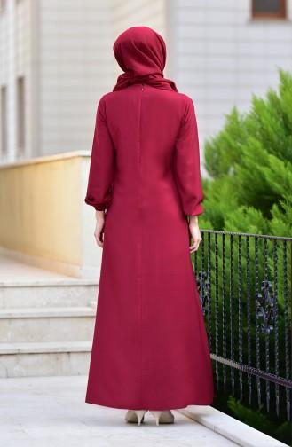 Elastic Sleeve Dress 4536-10 Claret Red 4536-10