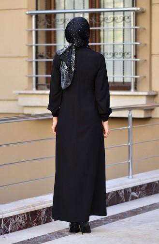 Kolu Lastikli A Pile Elbise 4536-01 Siyah 4536-01