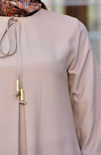 فستان فيسكون مطاطي الكم 4505-04 بني مائل للرمادي 4505-04