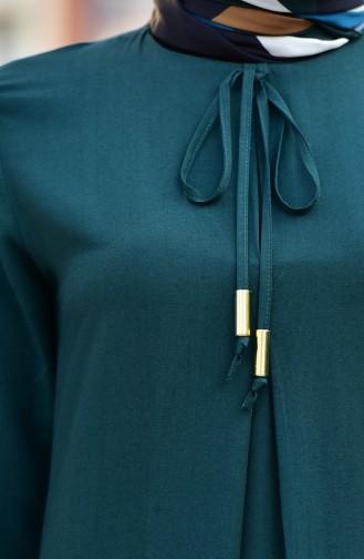 Kolu Lastikli A Pile Elbise 4536-04 Zümrüt Yeşili 4536-04