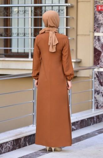 Tobacco Brown İslamitische Jurk 4505-07