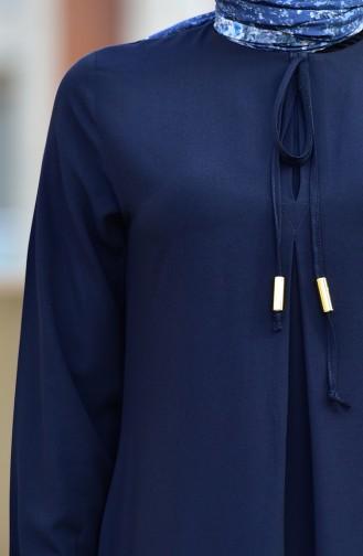 Kolu Lastikli Viskon Elbise 4505-08 Lacivert