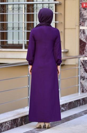 Elastischer Arm A Plissee Kleid 4536-08 Lila 4536-08
