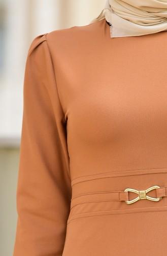 Kemer Detaylı Elbise 4509-03 Taba