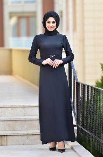 Kemer Detaylı Elbise 4509-04 Siyah
