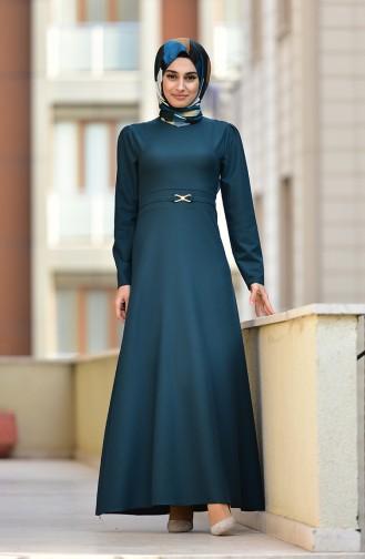 Kemer Detaylı Elbise 4509-05 Zümrüt Yeşili