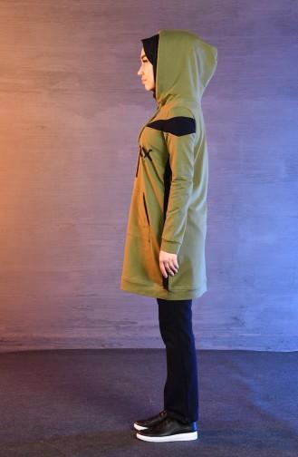 بي وست بدلة رياضية بتصميم موصول بقبعة 8346-02 لون اخضر زيتي 8346-02