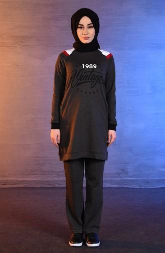 بي وست بدلة رياضية بتصميم مُطبع 8383-02 لون اسود مائل للرمادي 8383-02