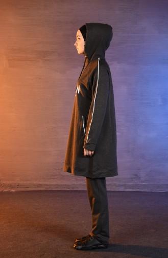 بي وست بدلة رياضية بتصميم موصول بقبعة 8394-04 لون أسود مائل للرمادي 8394-04