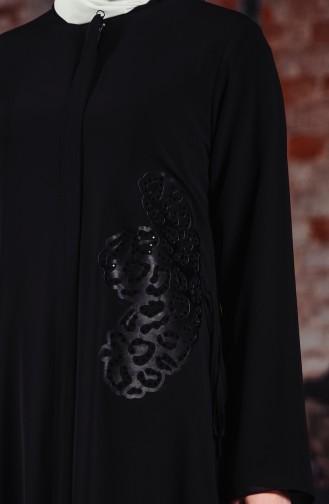 Taş Baskılı Ferace 35805A-01 Siyah
