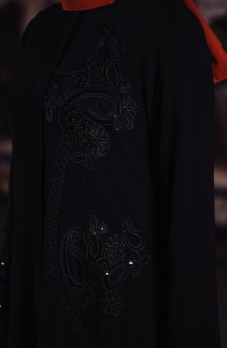 Pul Detaylı Ferace 35883-01 Siyah