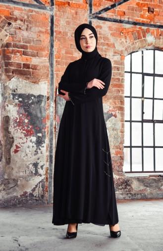 Abaya Perlées 35886-01 Noir 35886-01