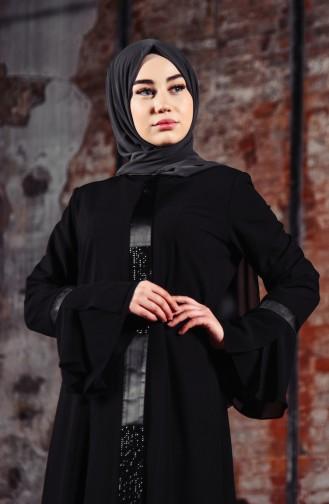 Abaya Pierre Imprimée 35891-01 Noir 35891-01