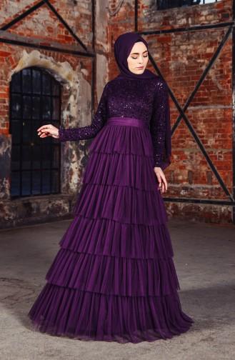 Sequin Detailed Evening Dress 52735-03 Purple 52735-03