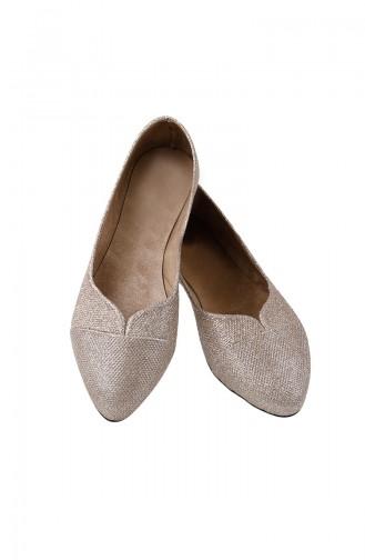 Women Flat Shoes Ballerina 0116-01 Gold 0116-01