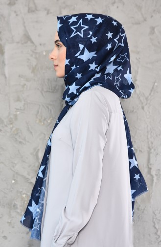 Star Patterned Cotton Shawl 95239-03 Navy baby Blue 95239-03