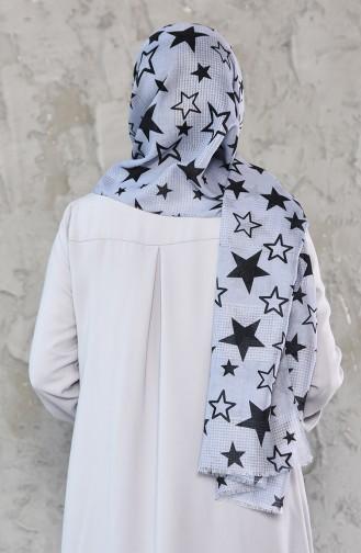 Star Patterned Cotton Shawl 95239-06 light Gray 95239-06