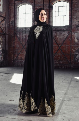 Pelerinli Güpürlü Abiye Elbise 81590-04 Siyah