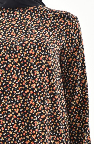 Floral Tunic Pants Binary Suit  4001-01 Black Yellow 4001-01