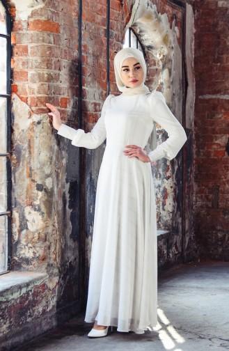 Silvery Flared Evening Dress 7236-02 light Beige 7236-02
