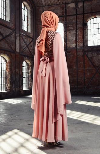 BURUN  Sequined Evening Dress 81668-07 Powder 81668-07