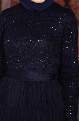 Payet Detaylı Abiye Elbise 52735-07 Lacivert